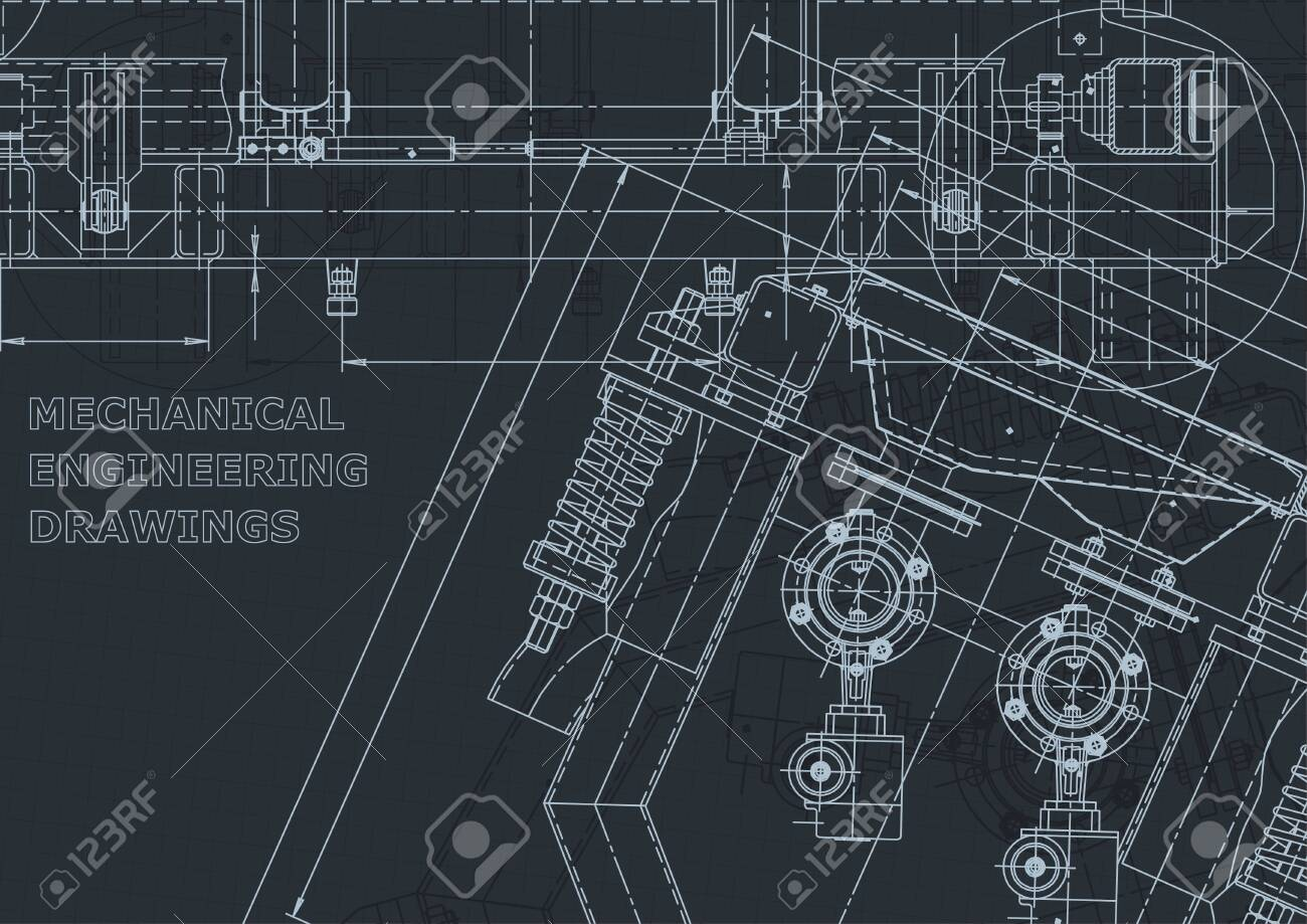 Corporate Identity, sketch. Technical illustrations, backgrounds. Mechanical engineering drawing. Machine-building industry. Instrument-making - 144345110
