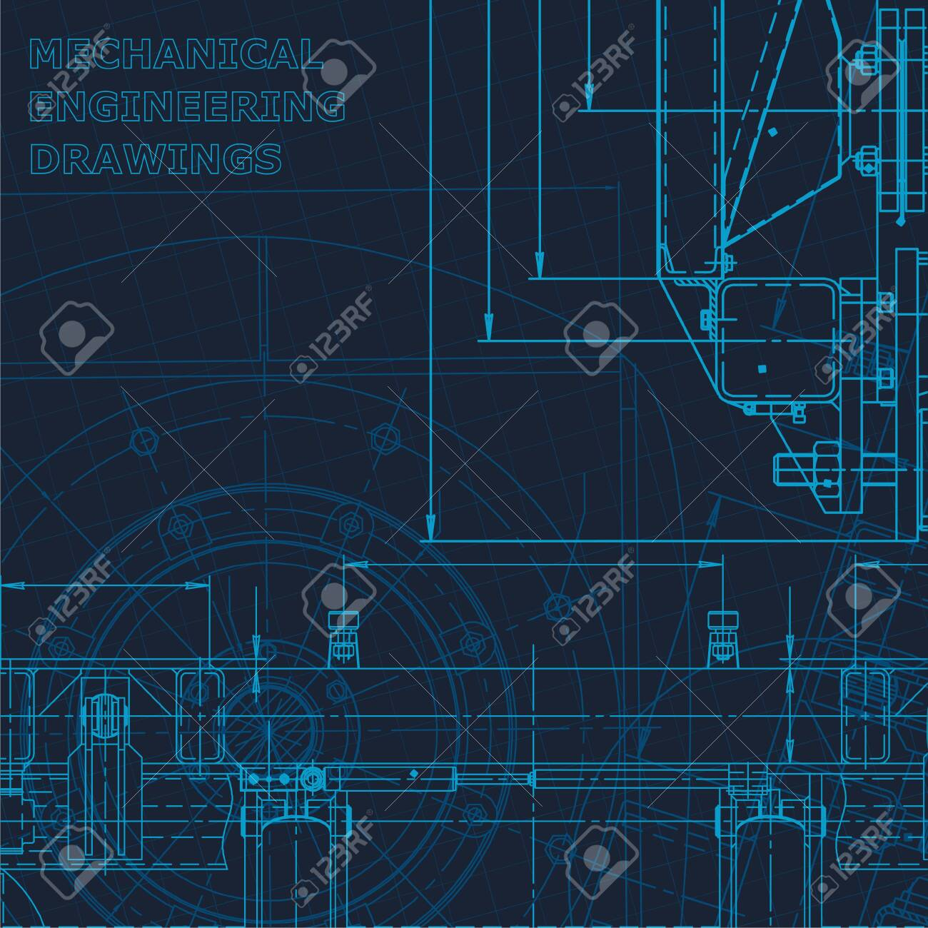 Technical cyberspace. Corporate Identity. Blueprint, scheme, plan, sketch Technical illustrations backgrounds Machine-building industry - 144264520