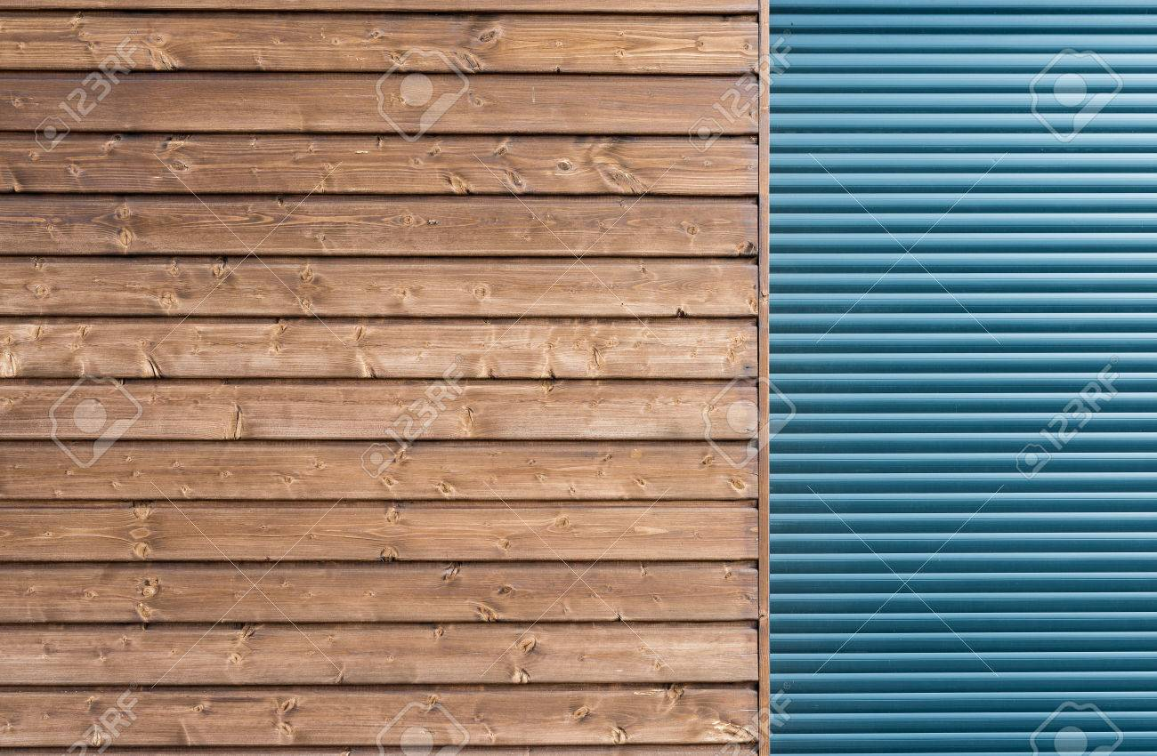 Modern Wooden Siding With Gray Aluminum Shutters Stock Photo   75479090