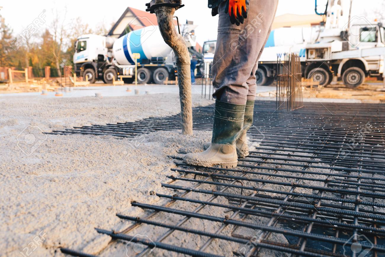 Concrete Pouring During Commercial Concreting Floors Of Buildings In  Construction - Concrete Slab Stock Photo, Picture And Royalty Free Image.  Image 93681749.