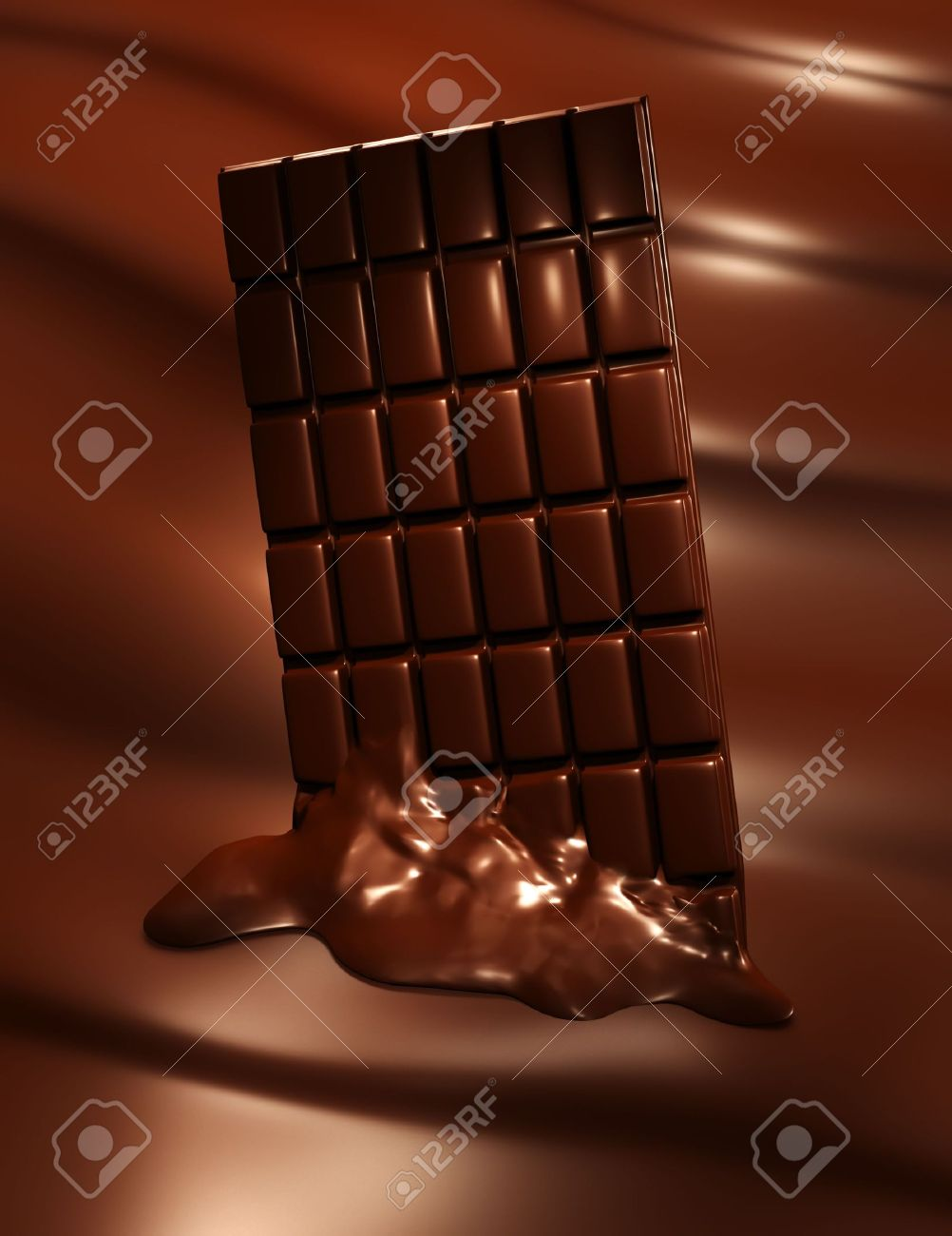 3D Render Of Melting Chocolate Bar On Wavy Chocolate Background ...