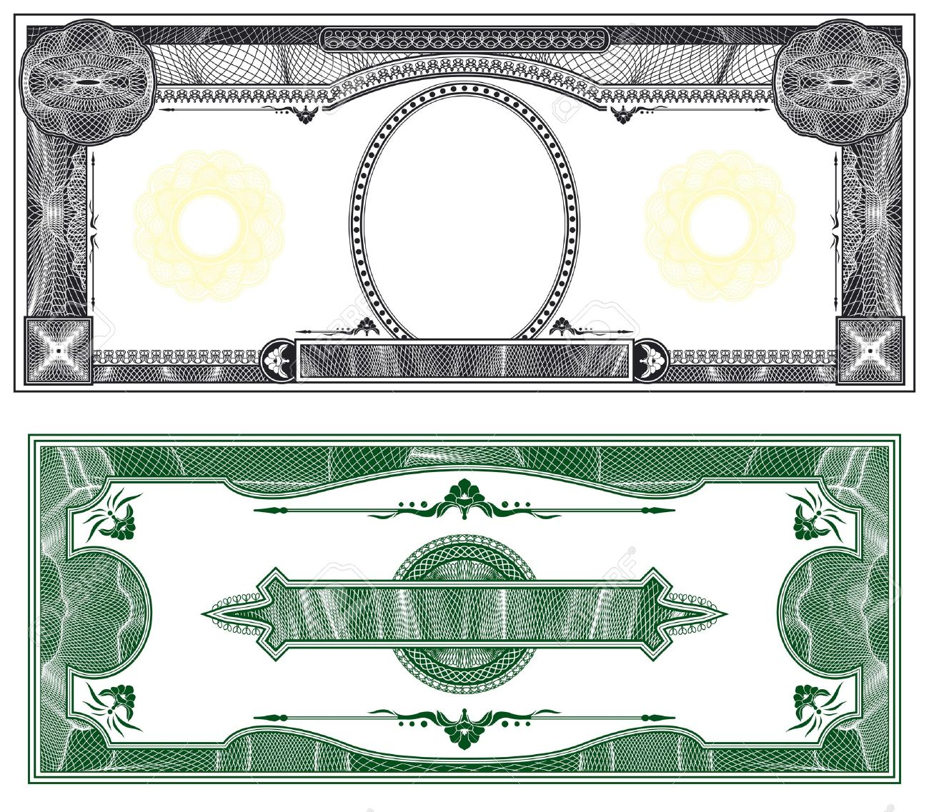 Blank banknote layout with obverse and reverse based on dollar bill Stock Photo - 8109064