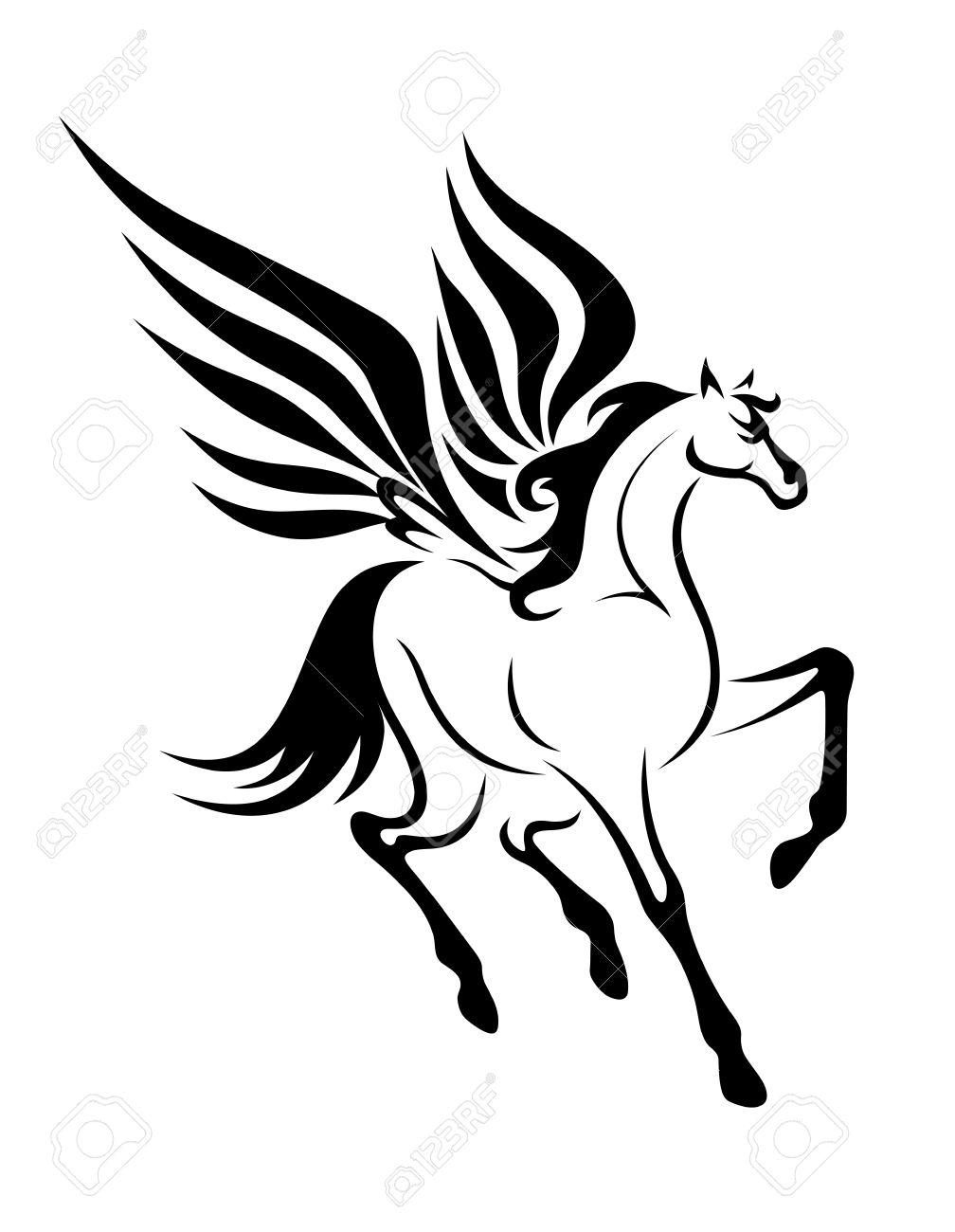 タトゥーの翼を持つ黒いペガサス馬ベクトル イラストのイラスト素材