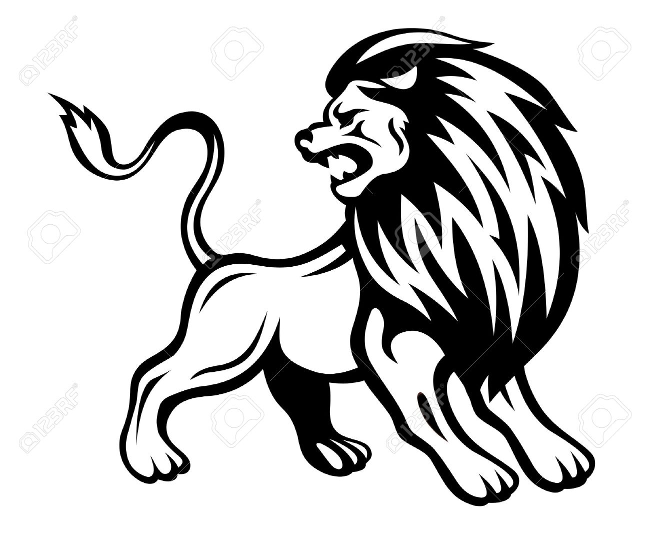 Angry lion in heraldic style. Vector illustration Stock Vector - 22472680