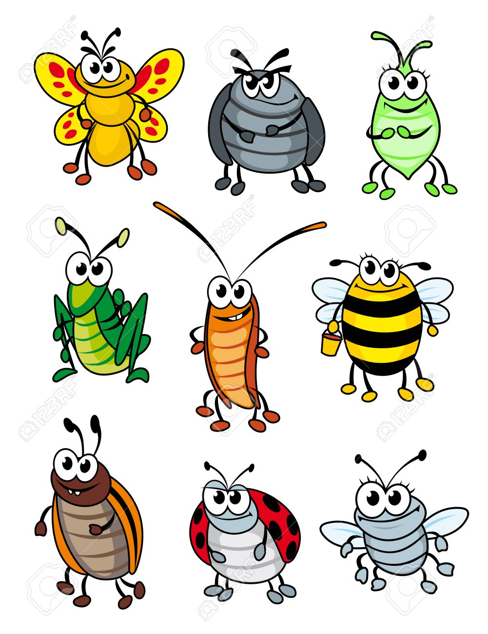 set of doodle cartoon insects vector illustration royalty free