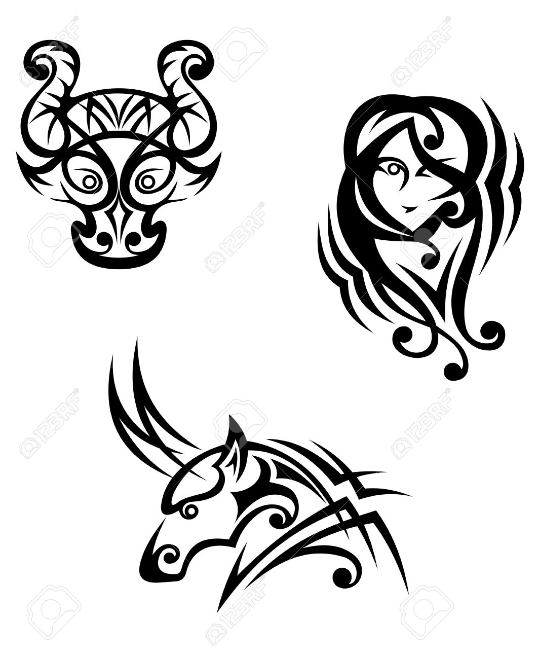 Taurus virgo and capricorn zodiacal symbols in tribal style taurus virgo and capricorn zodiacal symbols in tribal style stock vector 22472822 buycottarizona