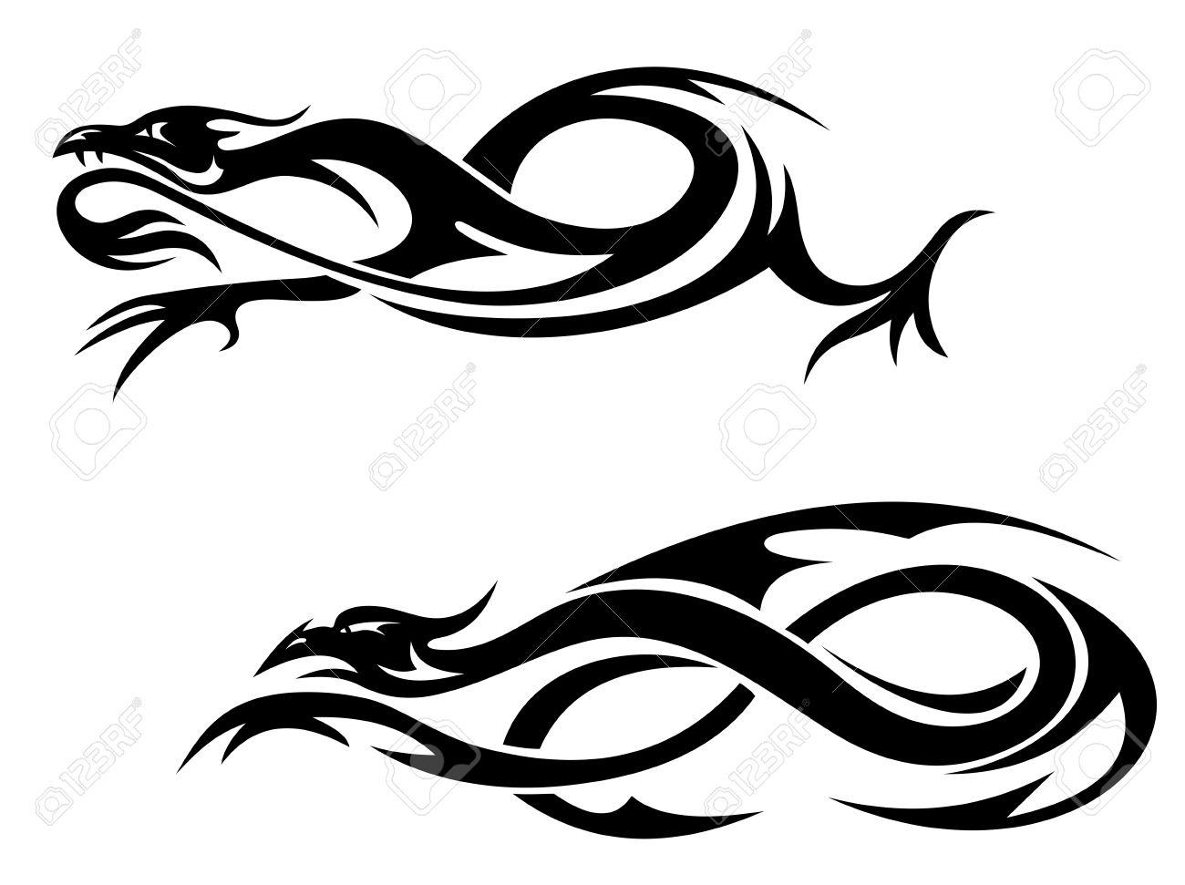 Cabezas De Dragones Para Tatuar dragones tribales negros y monstruos para tatuaje. ilustración vectorial