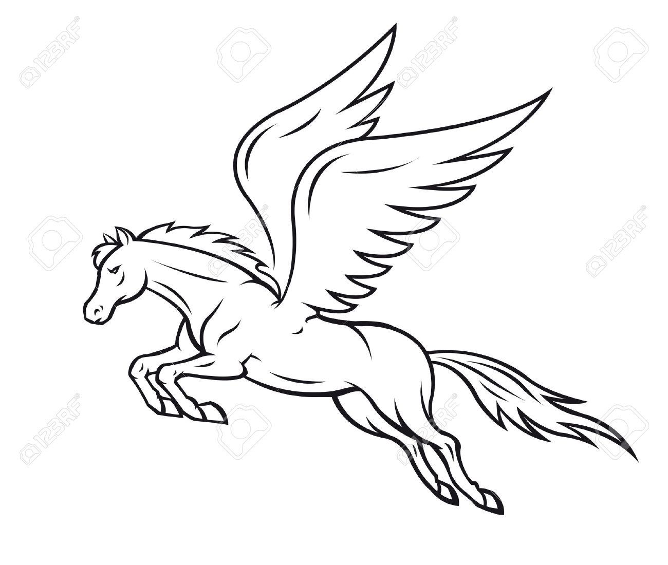 ペガサスの翼を持つ馬は白いベクトル イラストのイラスト素材ベクタ