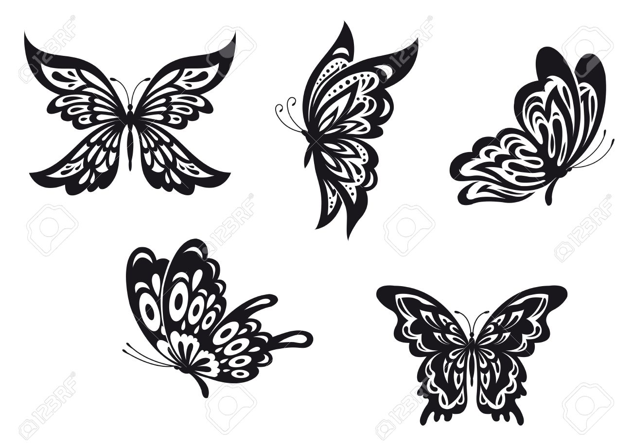 762adce48 Set of black butterfly tattoos. Vector illustration Stock Vector - 22473224