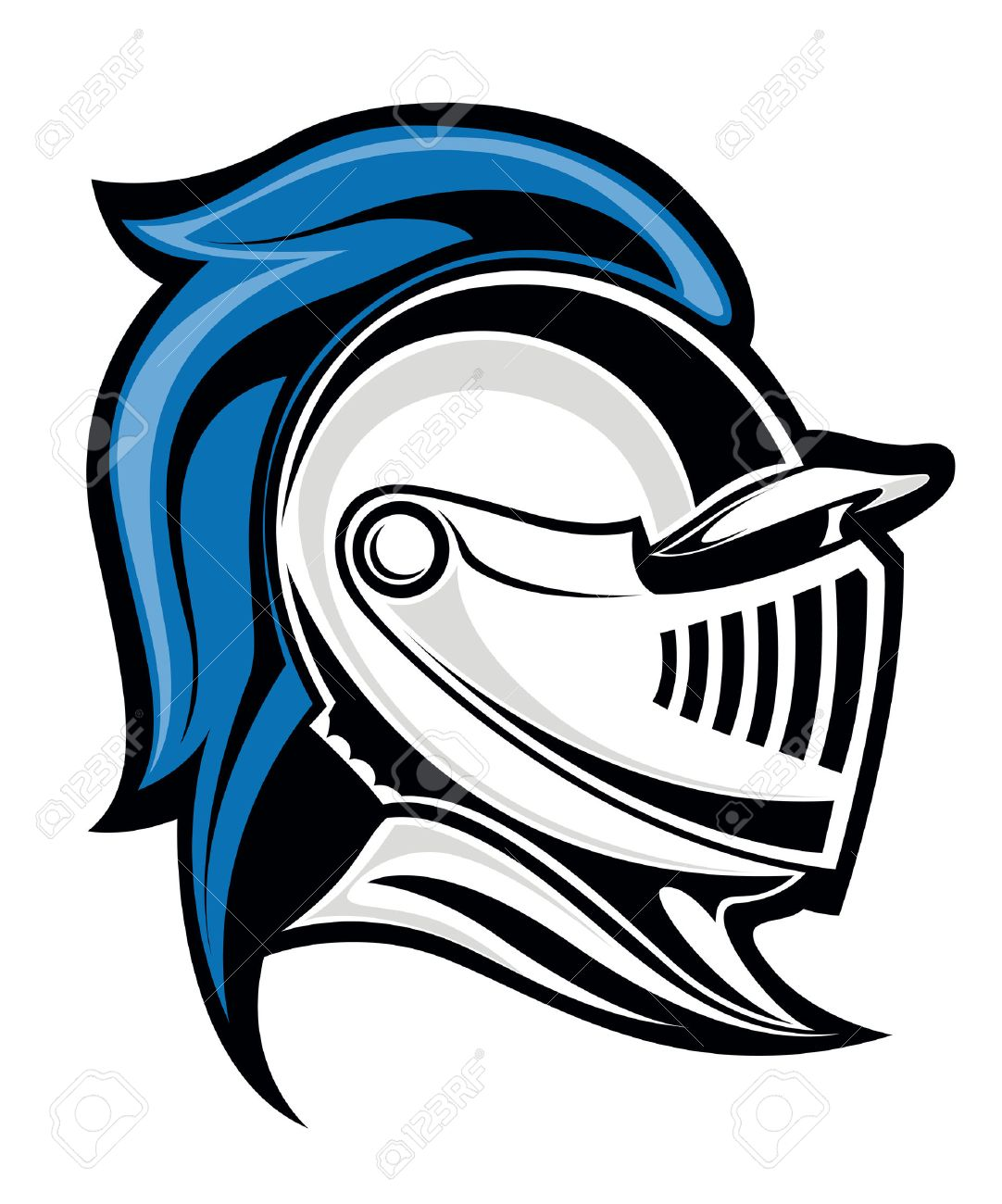 medieval knight head in helmet vector illustration royalty free rh 123rf com blue knight head logo Black Knight Head Logo