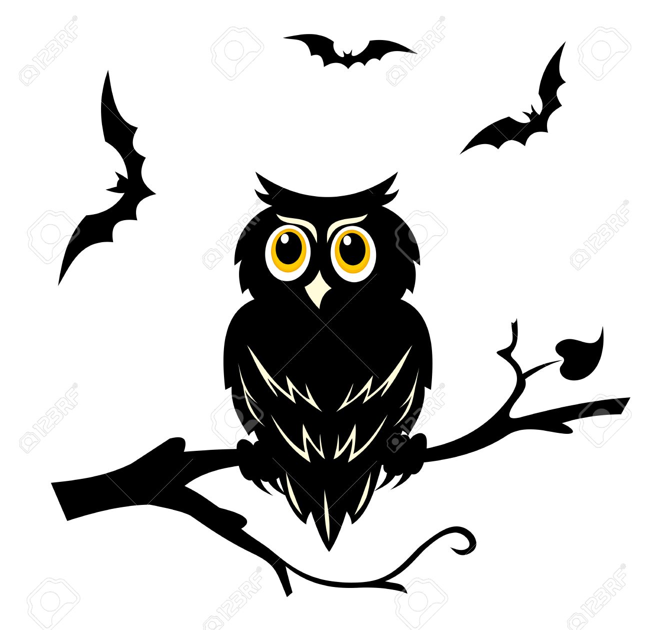 Black Halloween Owl On The Branch Of Tree Royalty Free Cliparts ...