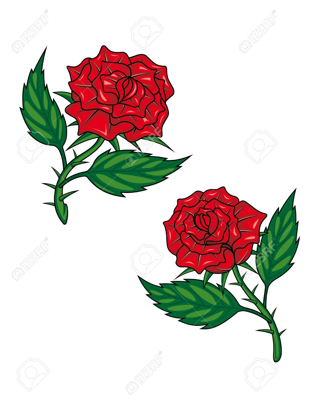 Dos Rosas Rojas De Dibujos Animados Aislado En Blanco Para El Diseño