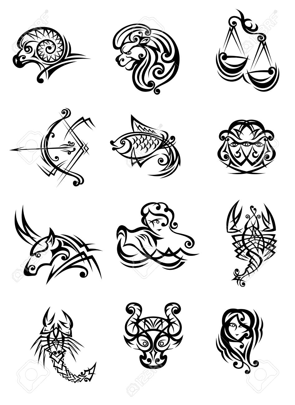 Tribal Black And White Vector Doodle Sketch Zodiac Signs Royalty