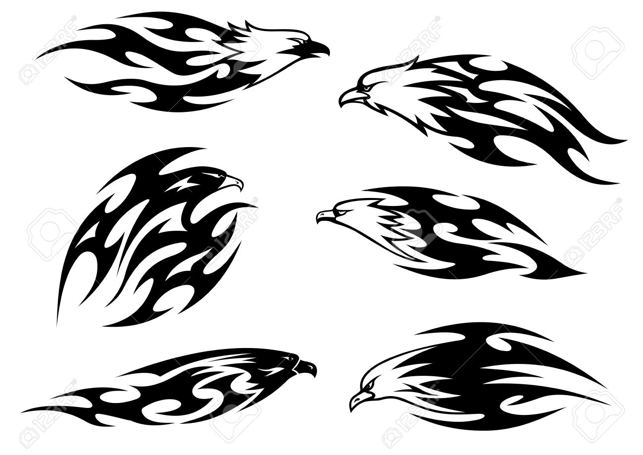 Black and white flying eagles, falcons and hawks in tribal style