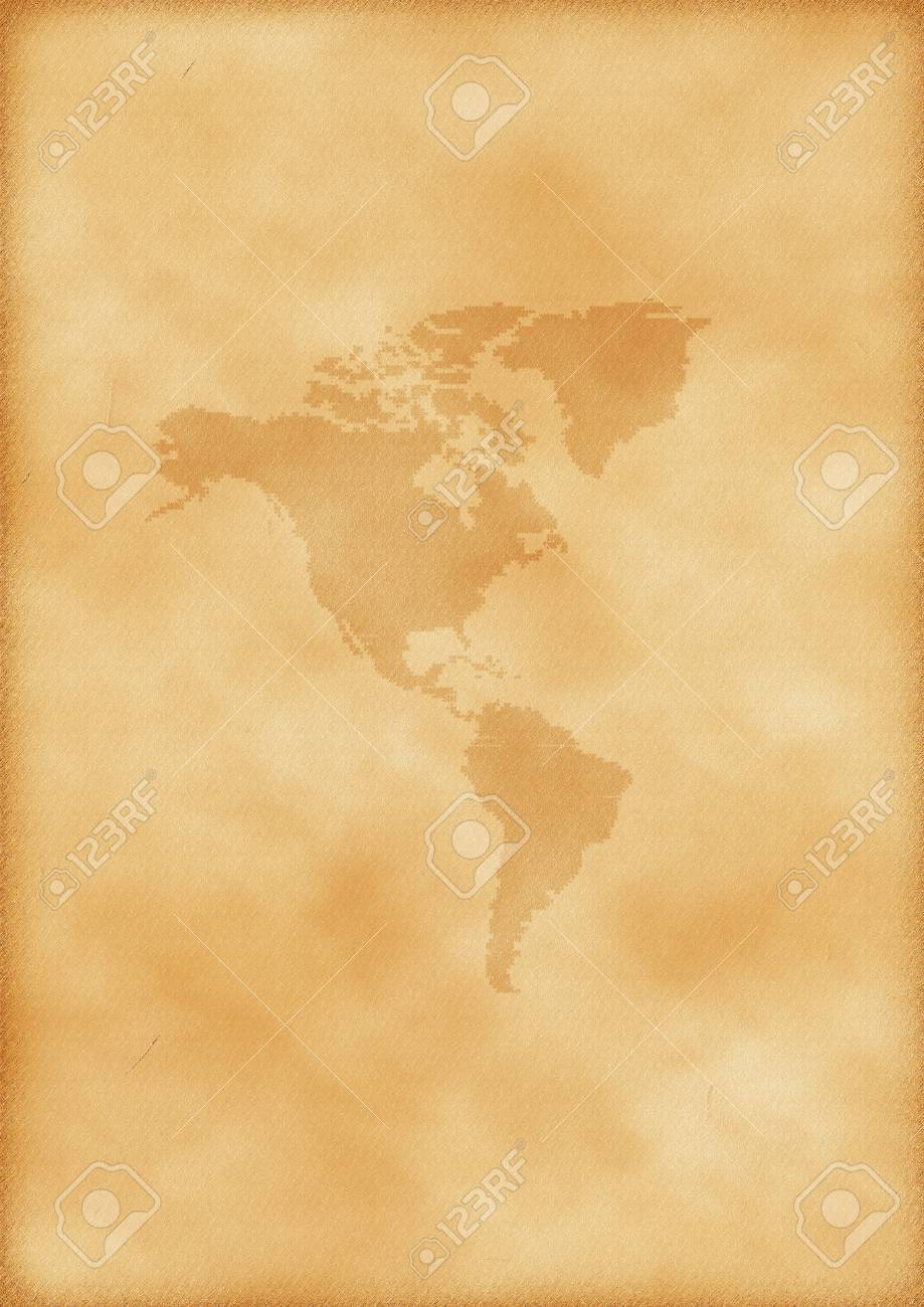 Old map of America as a background