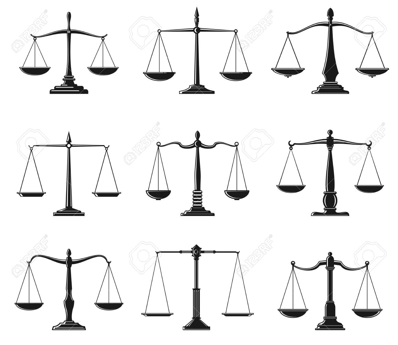 Scales of justice symbols of law balance vector design. Isolated icons of Lady Justice equal balance scales, weight measure instrument of law and order and legal protection themes - 141837621