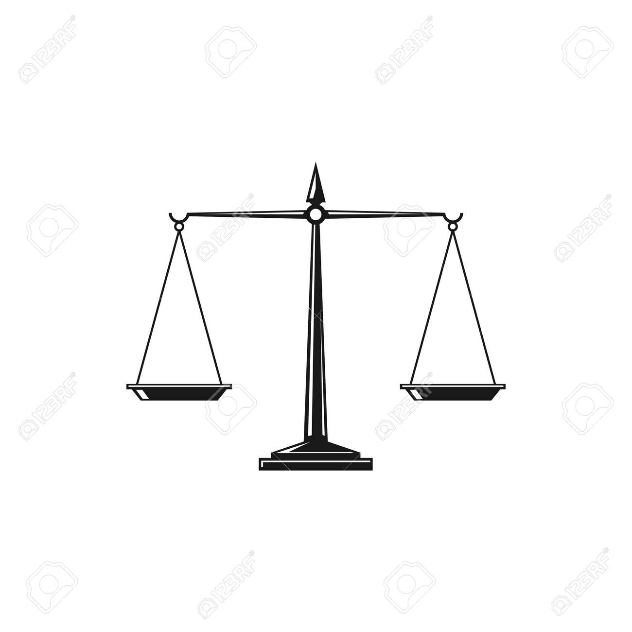 Scales isolated monochrome icon. Vector dual balance Themis scales of justice on decorative stand. Mechanical balancing scales, symbol of law and judgment, punishment and truth, measuring device - 165541137