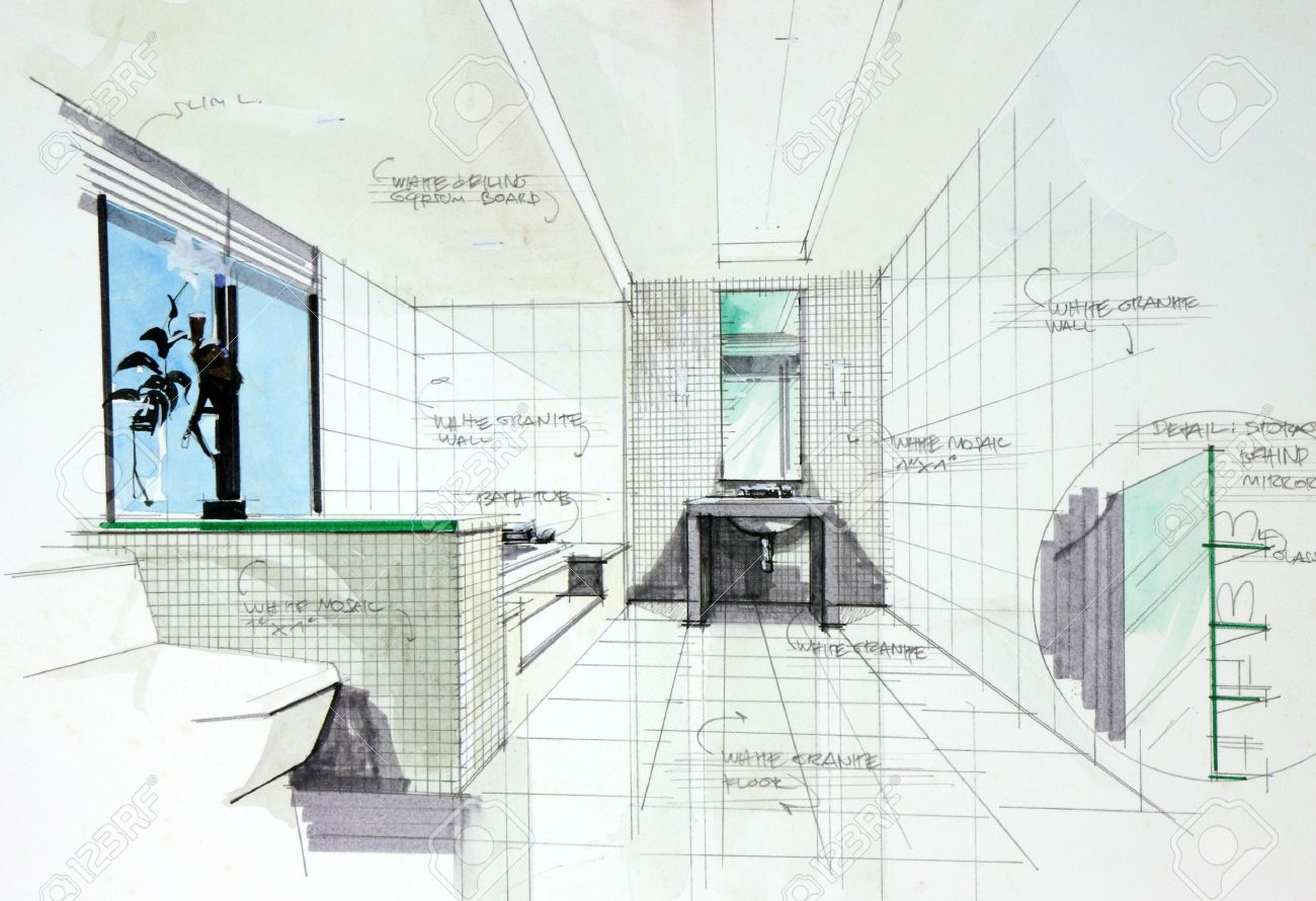 Interior Sketch By Pencil And Pen Color Free Hand Of Bath Room Design Stock Photo
