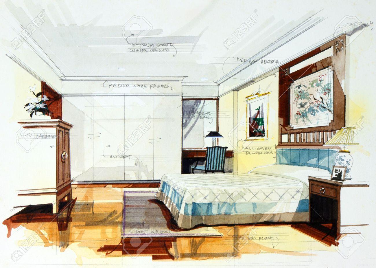 Interior sketch bedroom by pencil and watercolor