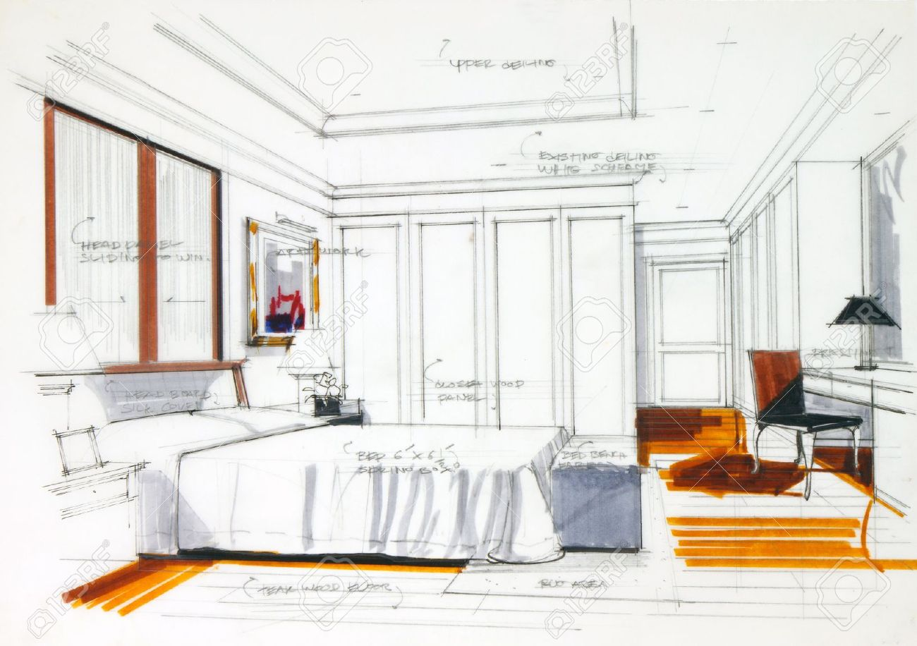 Interior Sketch By Pencil And Pen Color Free Hand Of A Master Bedroom Stock Photo
