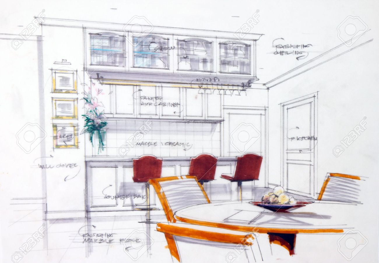 Interior Sketch By Pencil And Pen Color Free Hand Of A Pantry Stock Photo