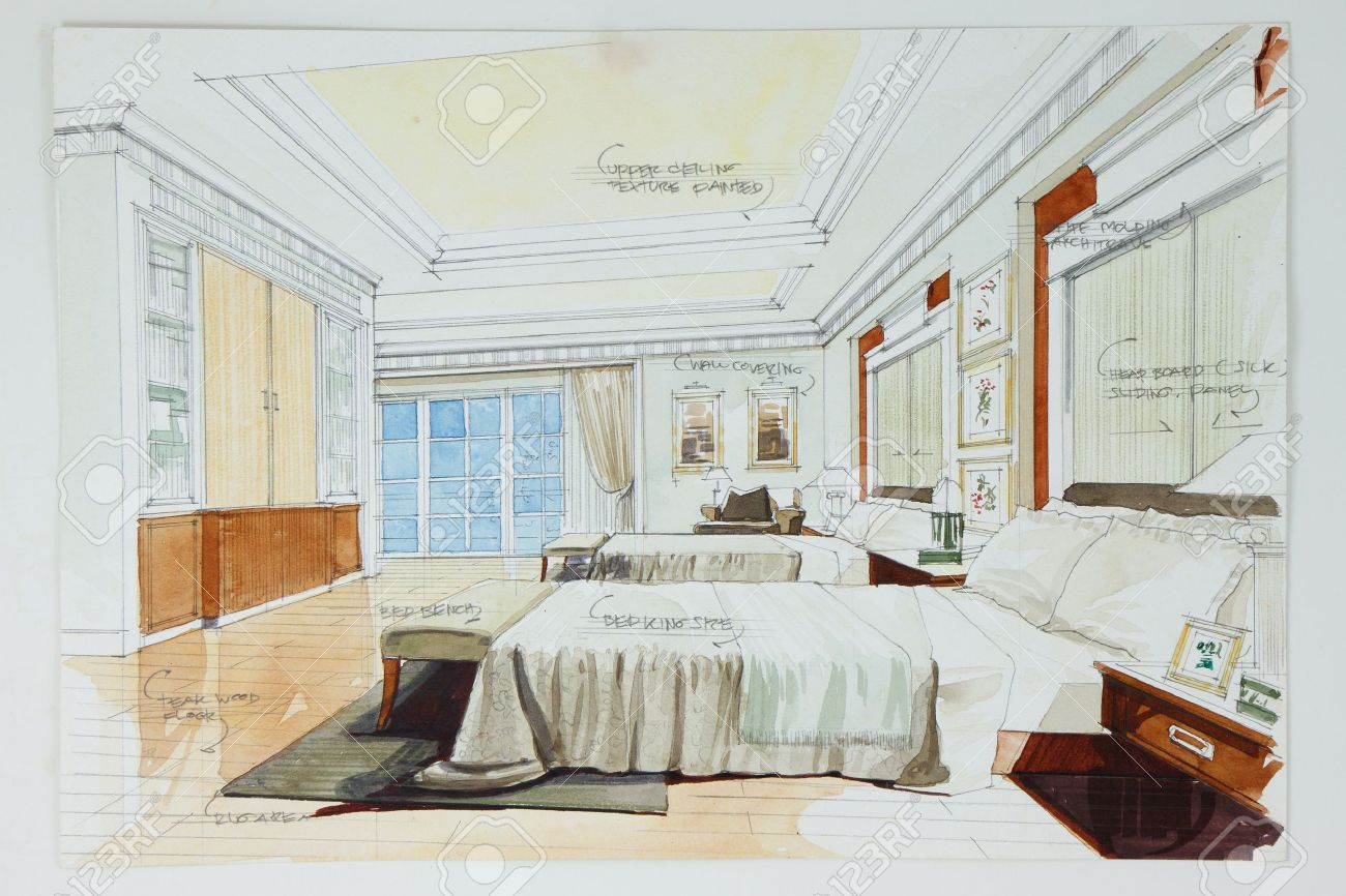 Ink Pen And Watercolor Free Hand Sketch Of An Interior A Master Bedroom Stock Photo