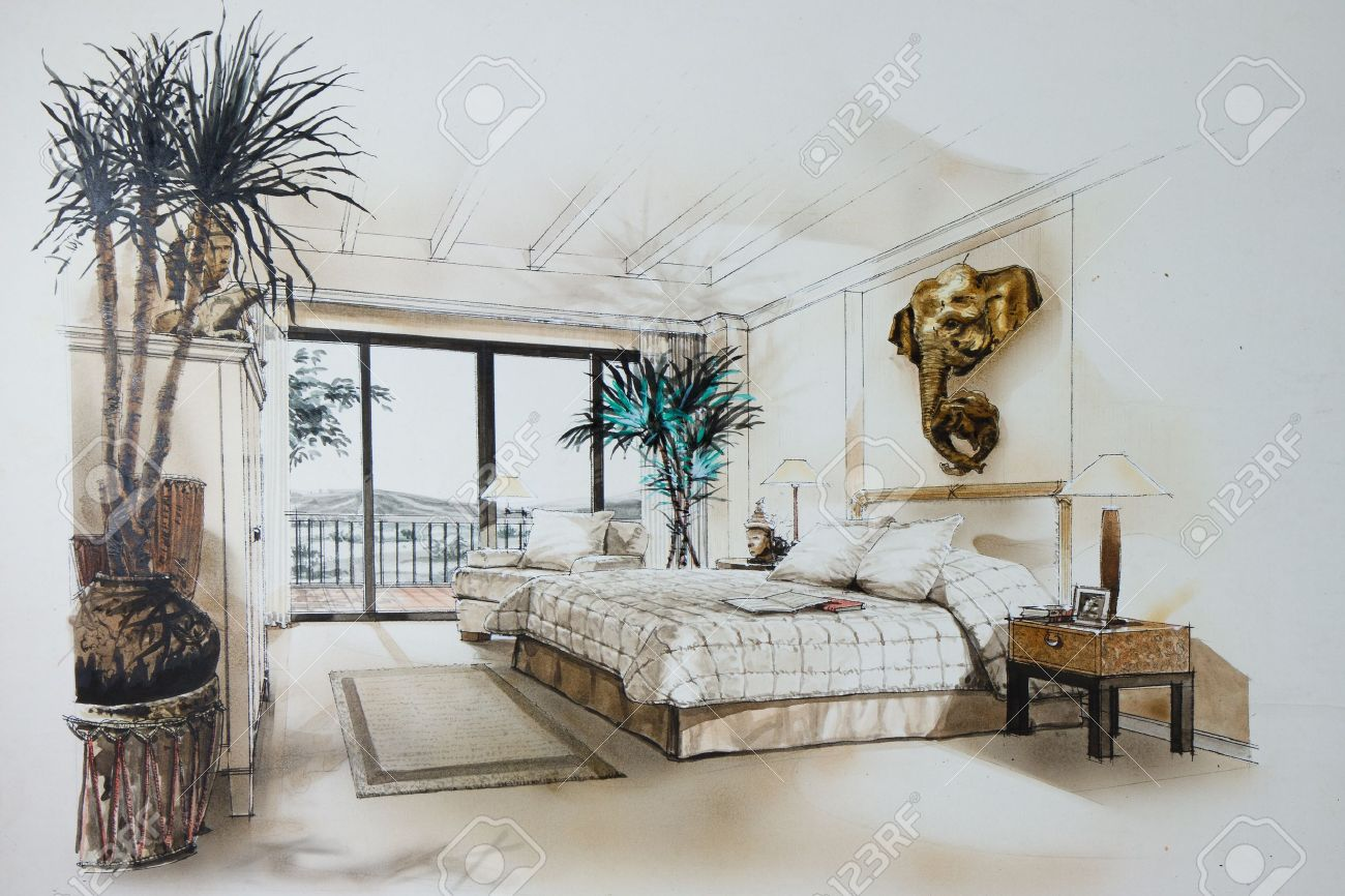 Ink Pen And Watercolor Free Hand Sketch Of An Interior Of A Master