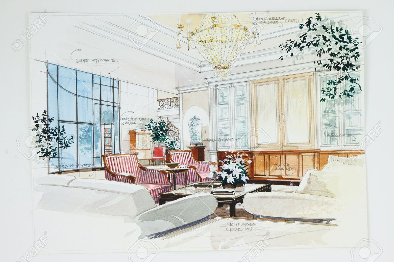 Bedroom drawing with color - Stock Photo Color Pencil Free Hand Sketch Of An Interior Of A Living Room