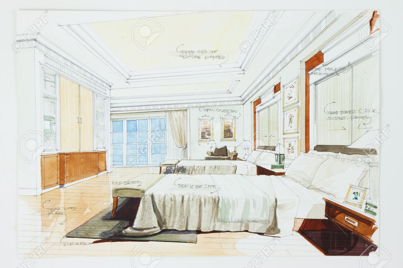 Master bedroom drawing - Master Bedroom Ink Pen And Watercolor Free Hand Sketch Of An Interior Of A Master