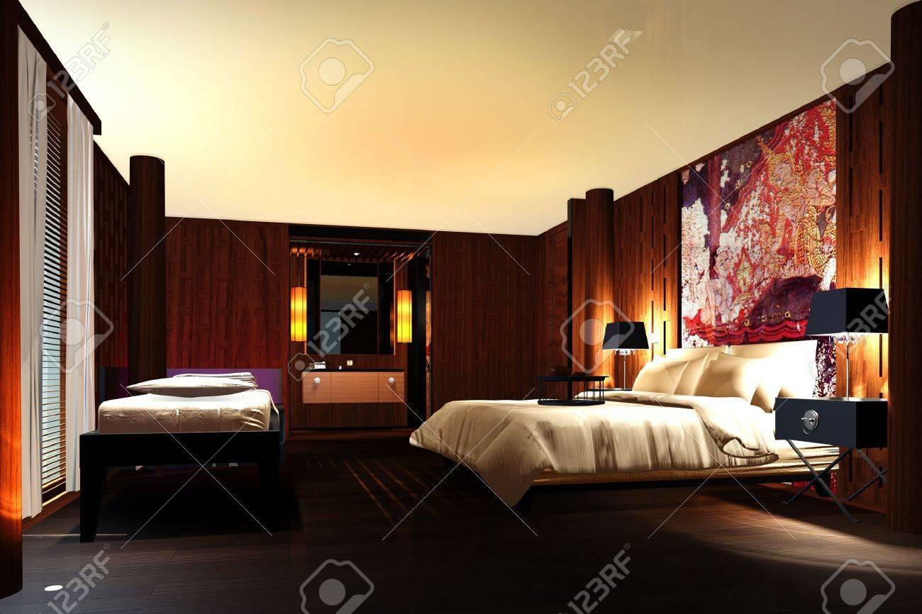 Interior of modern bedroom 3d render Stock Photo - 10371547