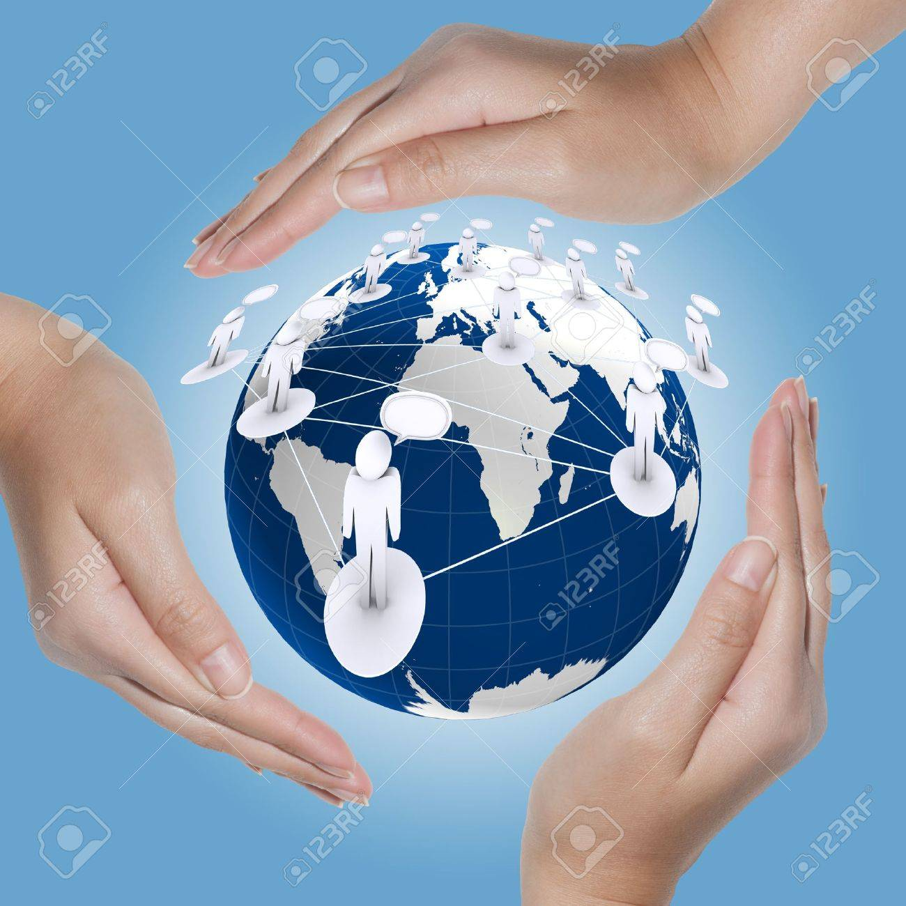 Globe and social in the hands Stock Photo - 11321618
