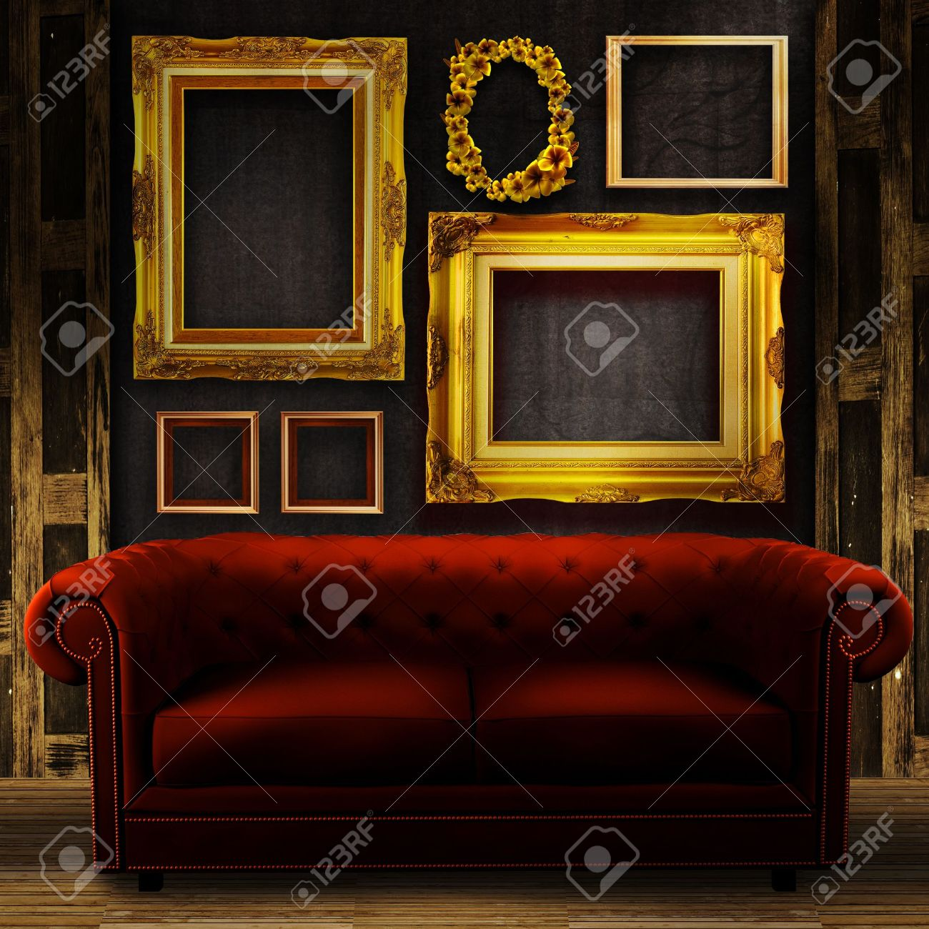 Gallery display - vintage gold frames on an old timber wall and..