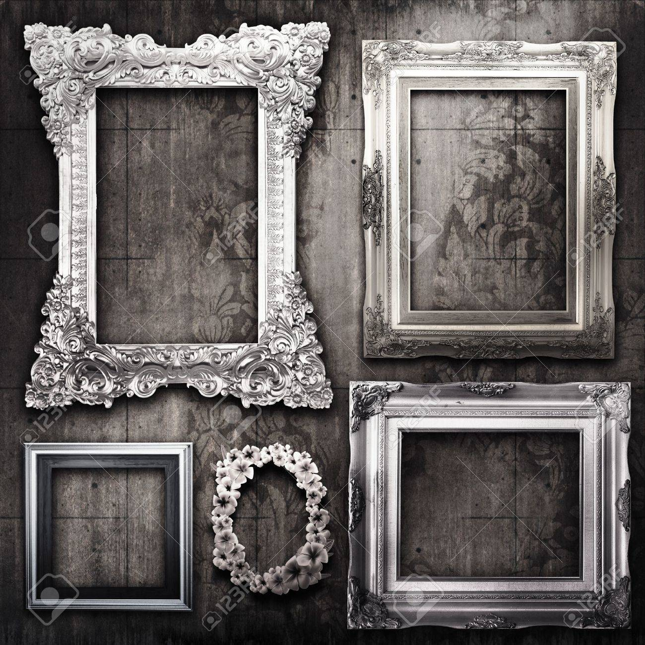 gallery display vintage silver frames on old cement wall stock photo 11566720