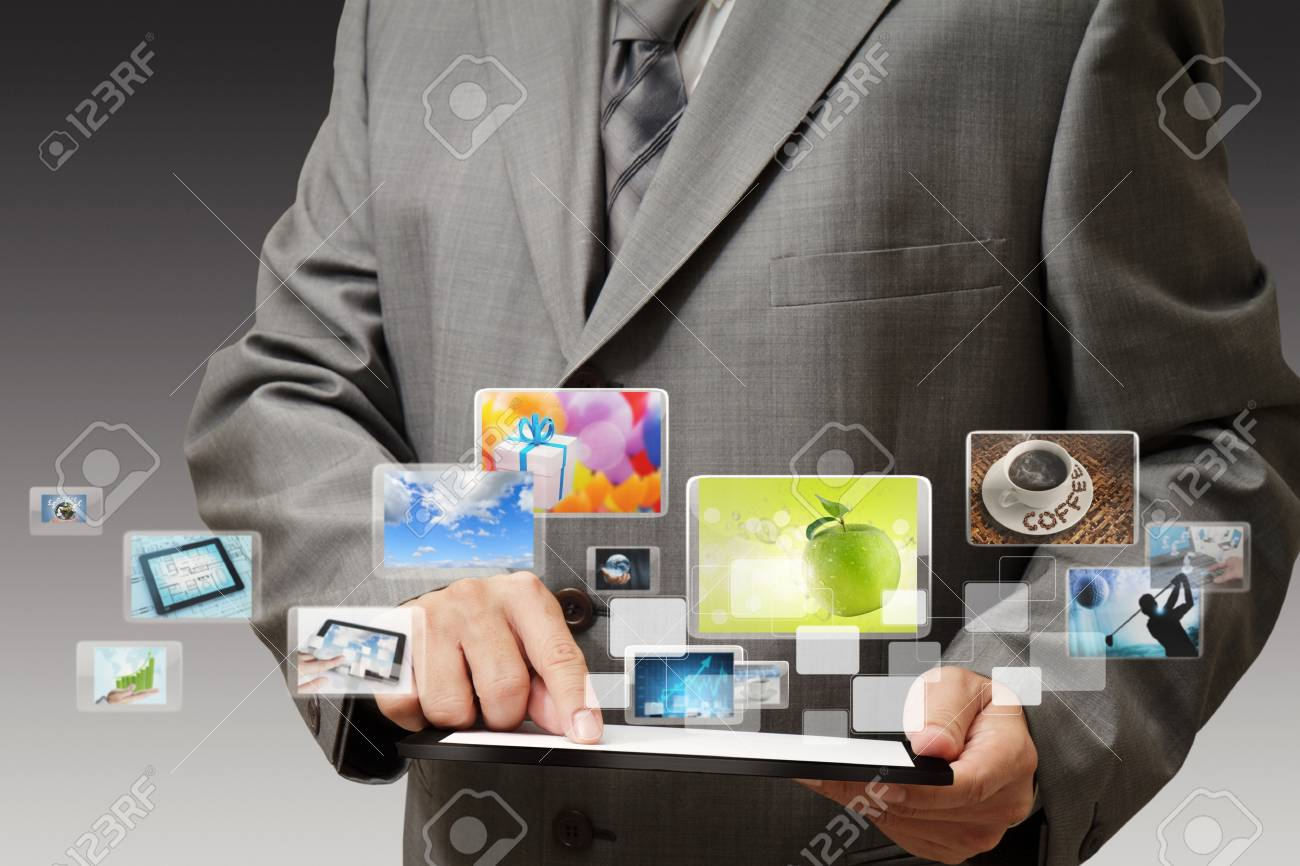 business hand shows touch screen mobile phone with streaming images Stock Photo - 11844113