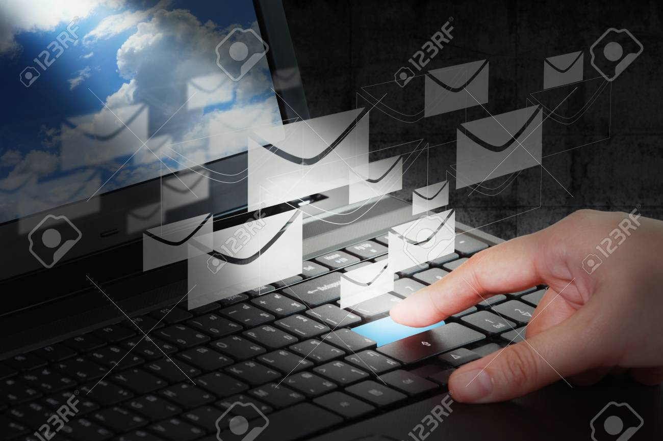 Business man at the office working on e-mail typing Stock Photo - 11931208