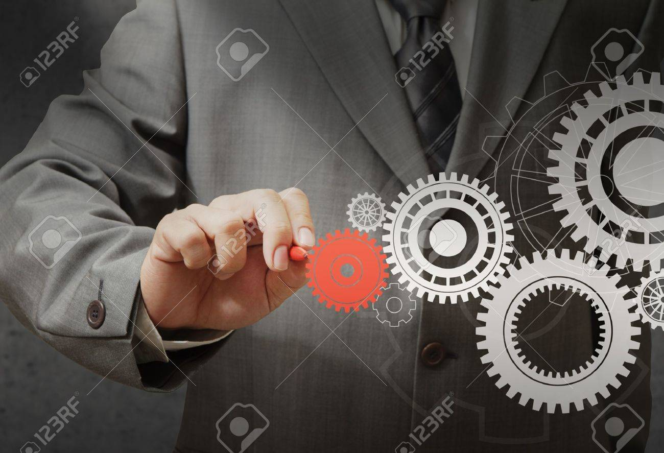 Businessman drawing gear to success Stock Photo - 11944600