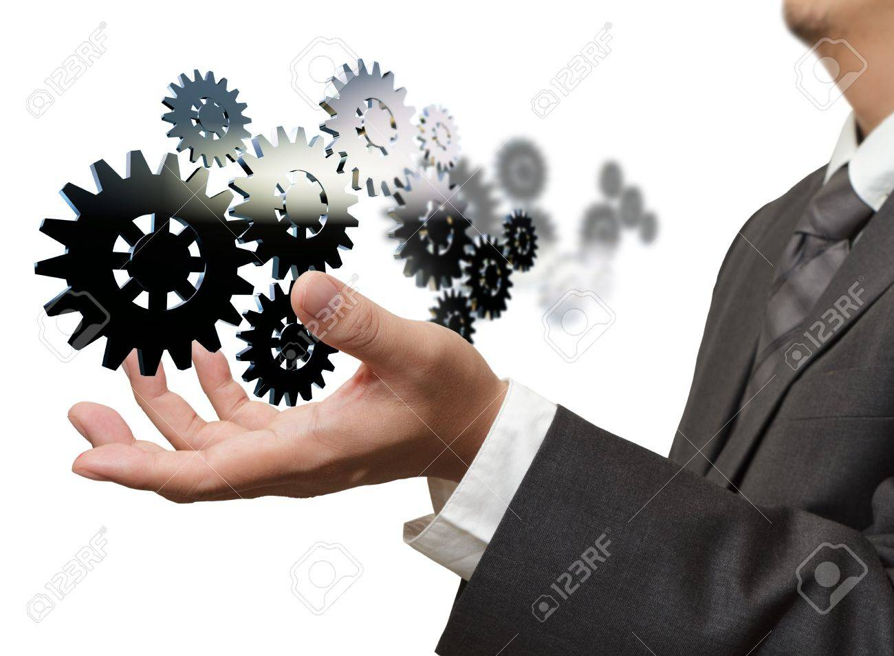 businessman show gear to success Stock Photo - 12246747