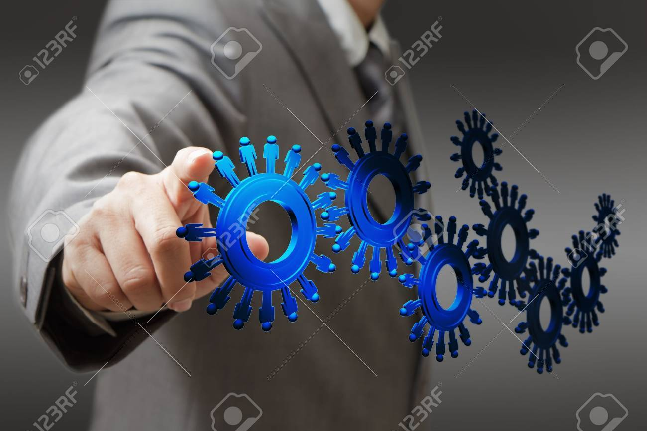 businessman and people cogs as concept Stock Photo - 12246754