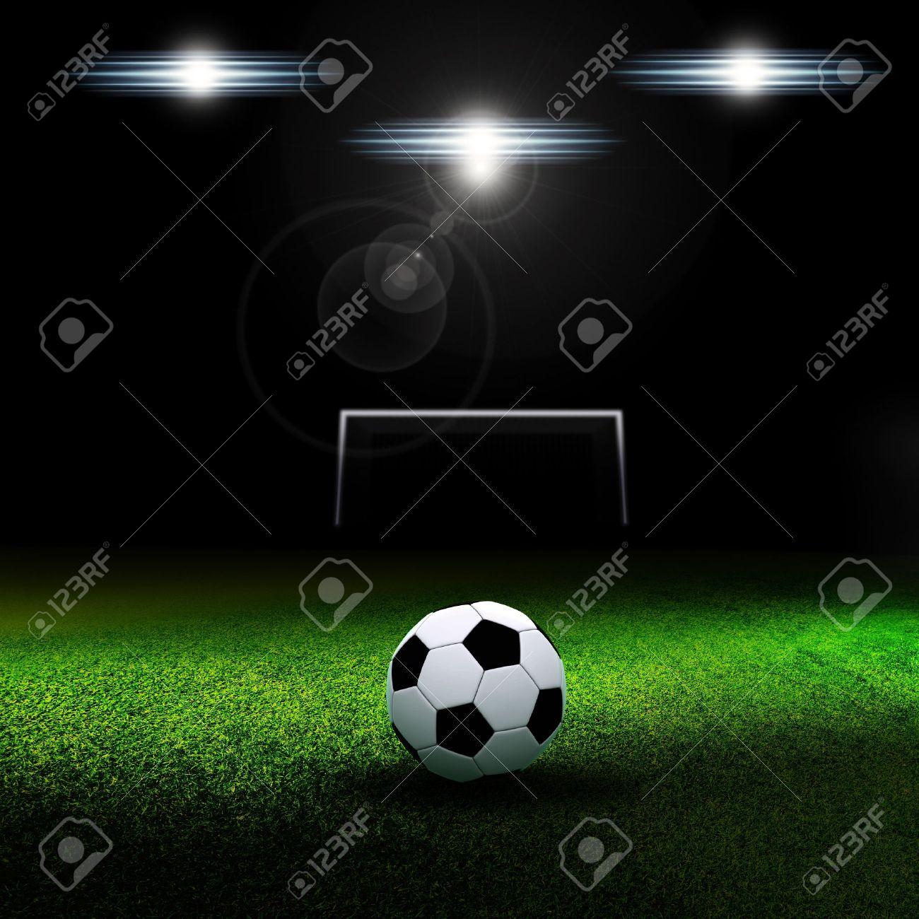 Soccer Ball On Grass Against Black Background Soccer Football Field