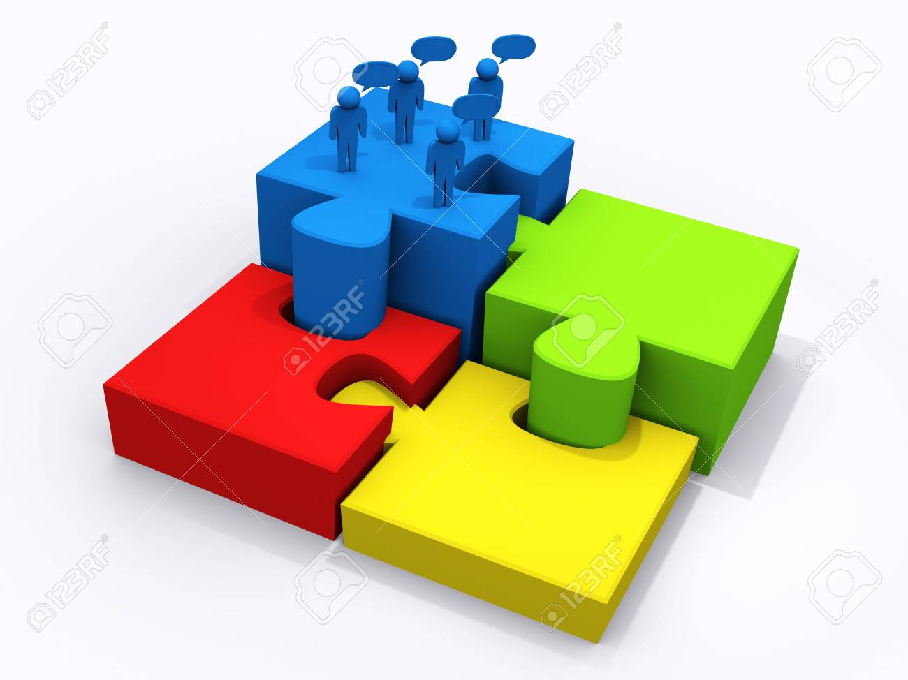 business teamwork on puzzle pieces to success Stock Photo - 12909904
