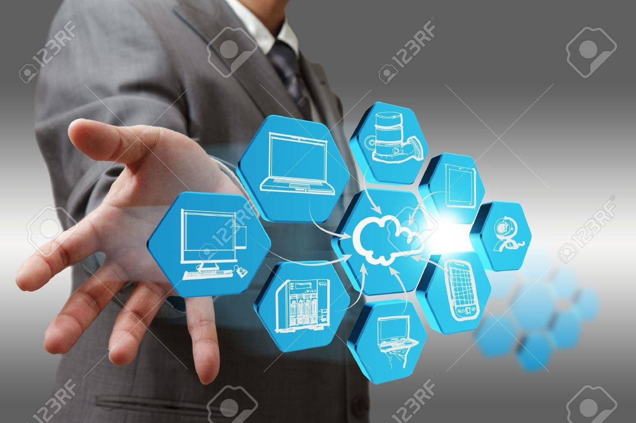 Businessman draws cloud network on abstract icon Stock Photo - 13181826