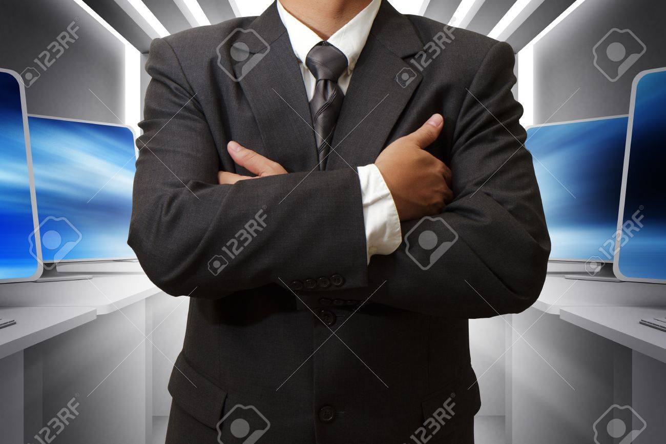 business man and computer room Stock Photo - 13181835