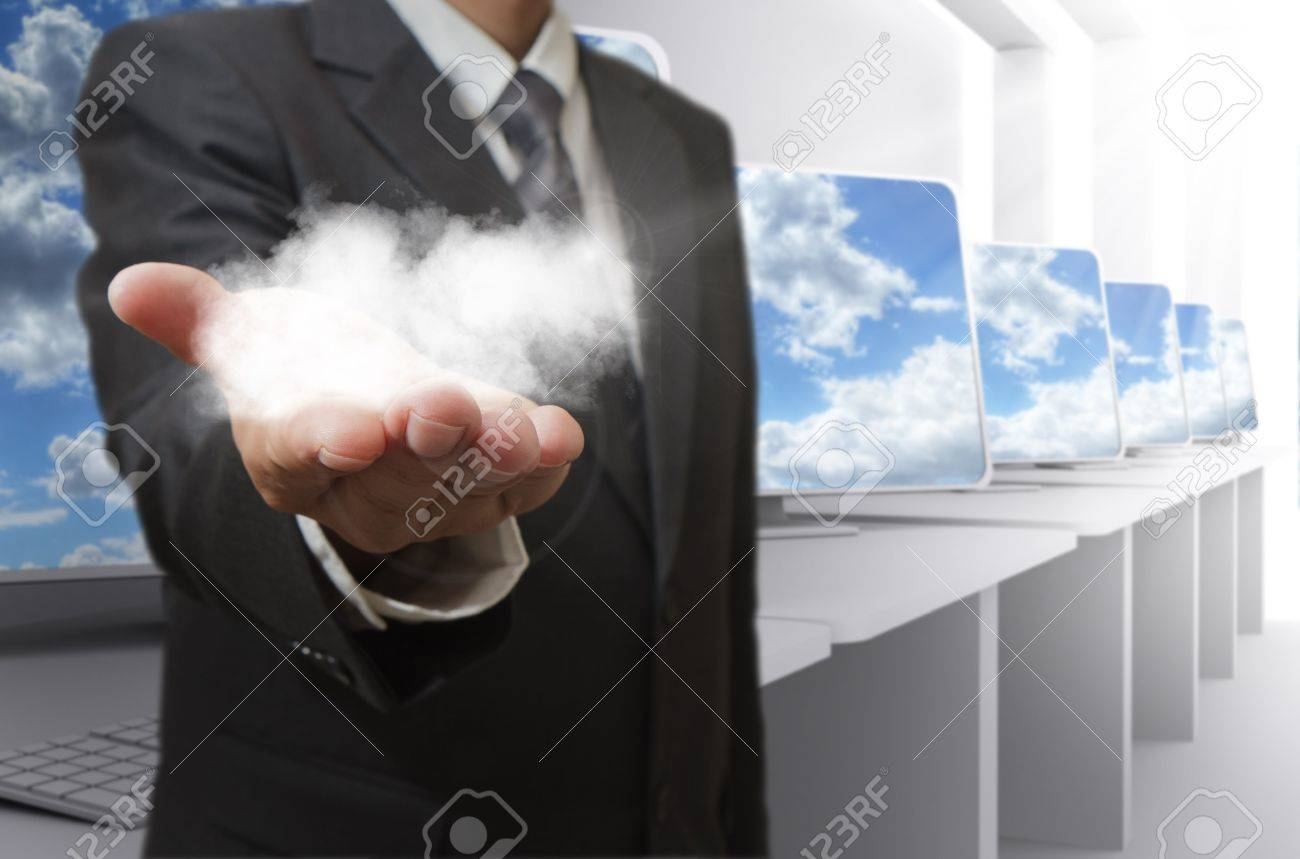 business man hand shows cloud network concept Stock Photo - 13181665
