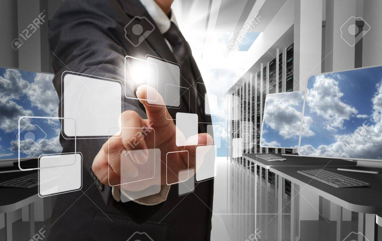 business man hand point to virtual button as cloud network concept Stock Photo - 13310180