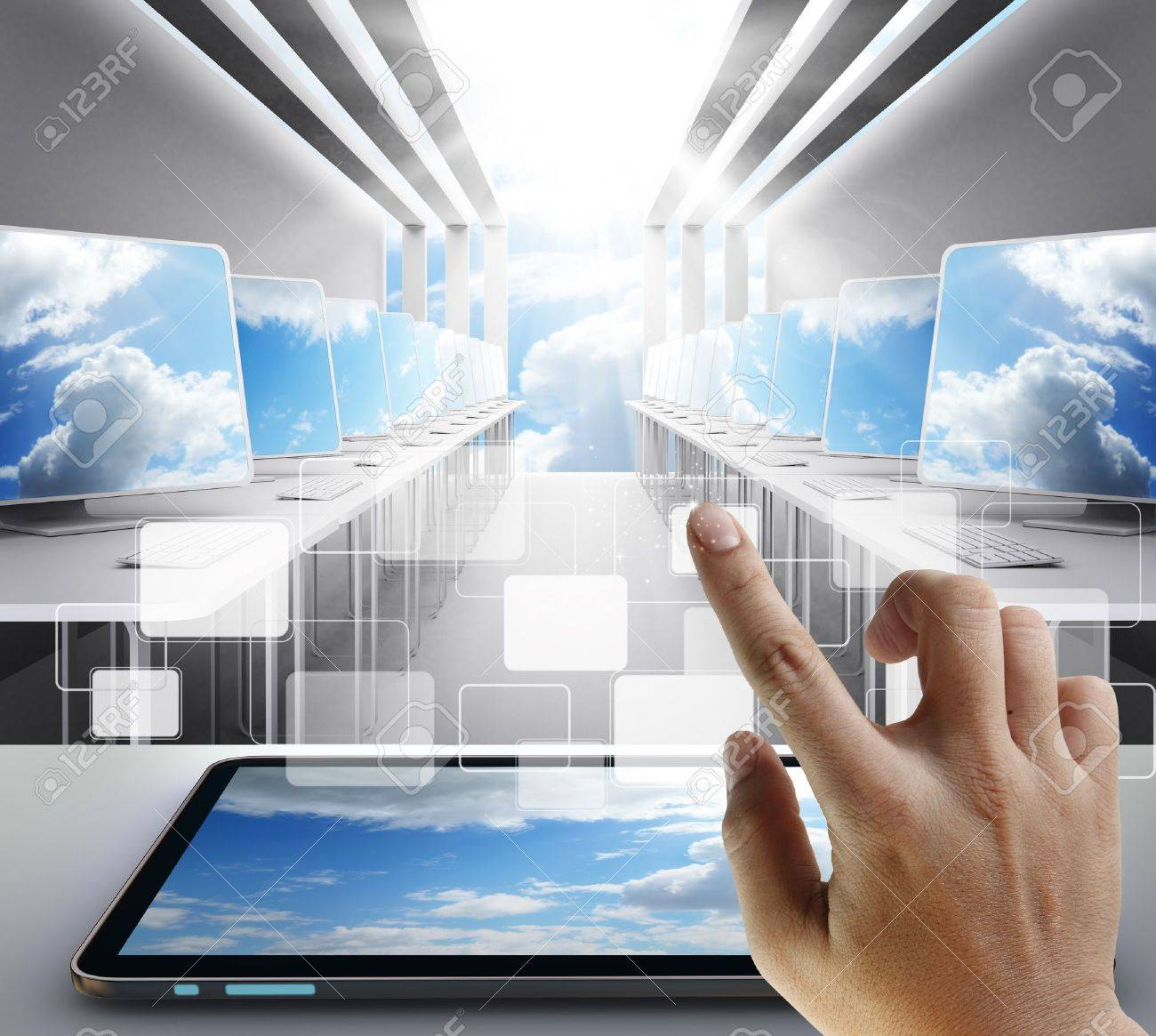 hand touch on button as cloud network concept Stock Photo - 13310324