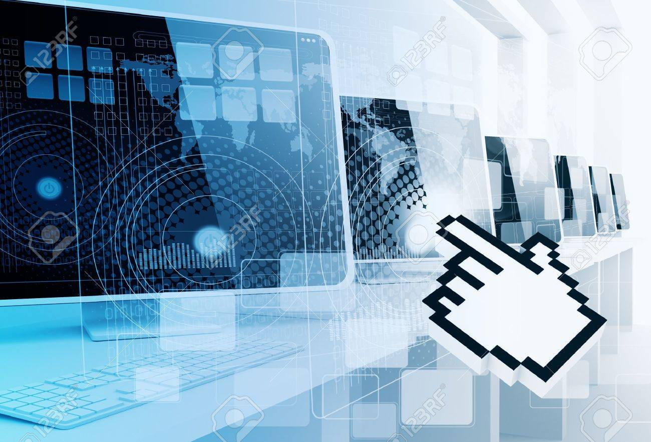 Digital Computer And Hand Cursor Background Stock Photo, Picture ...