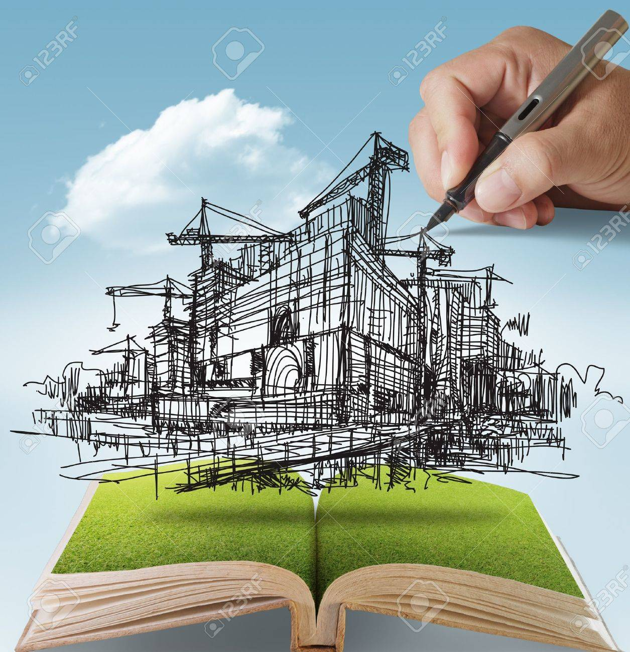 open book of hand draws building and construction - 13652517