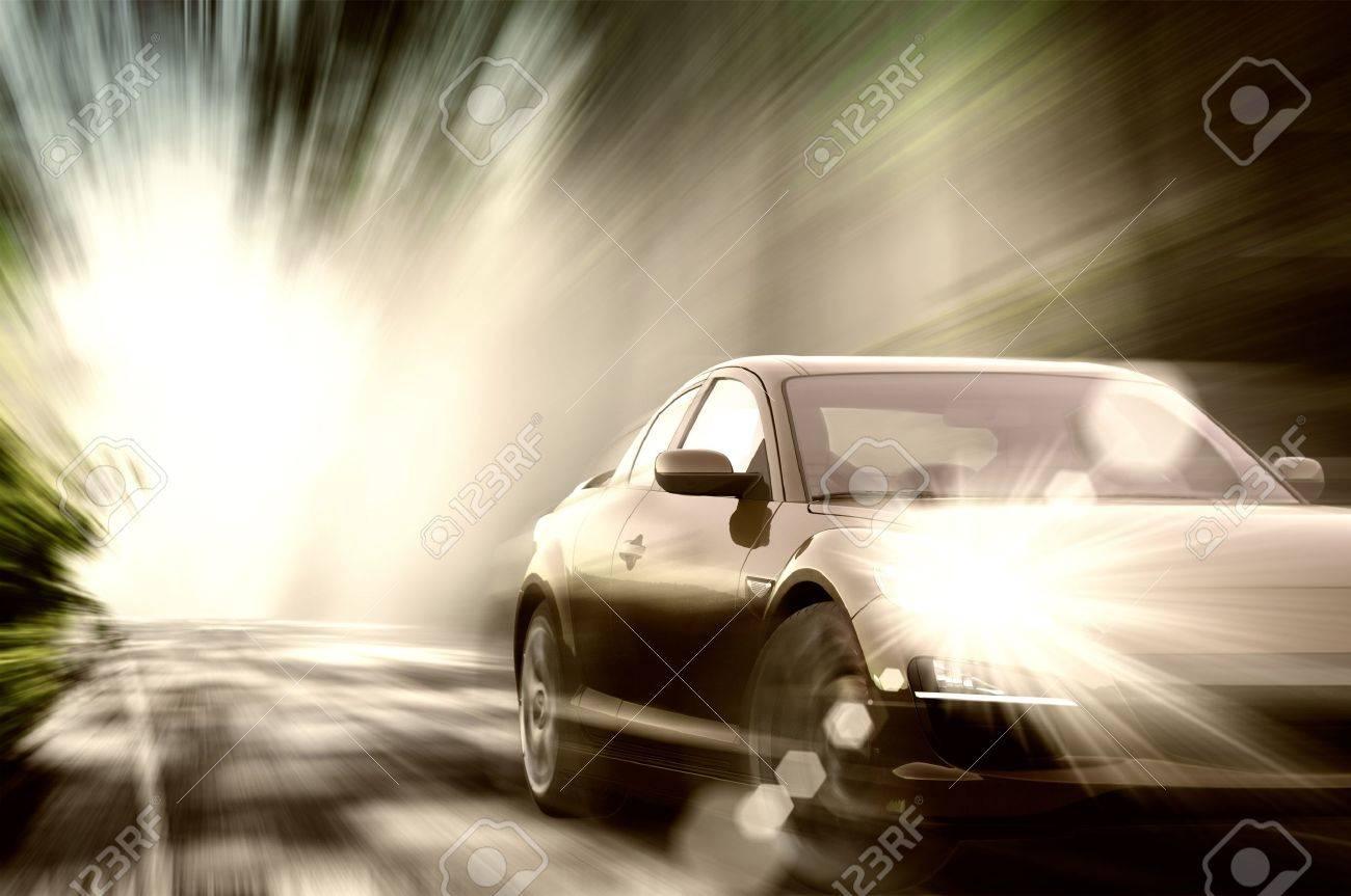 Beautiful sport car on road Stock Photo - 13770536