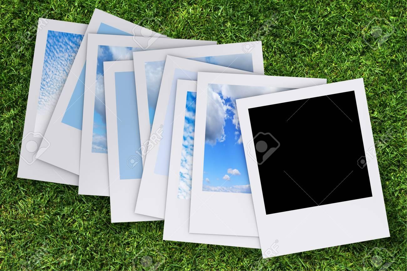 blank photo on grass background Stock Photo - 13770583