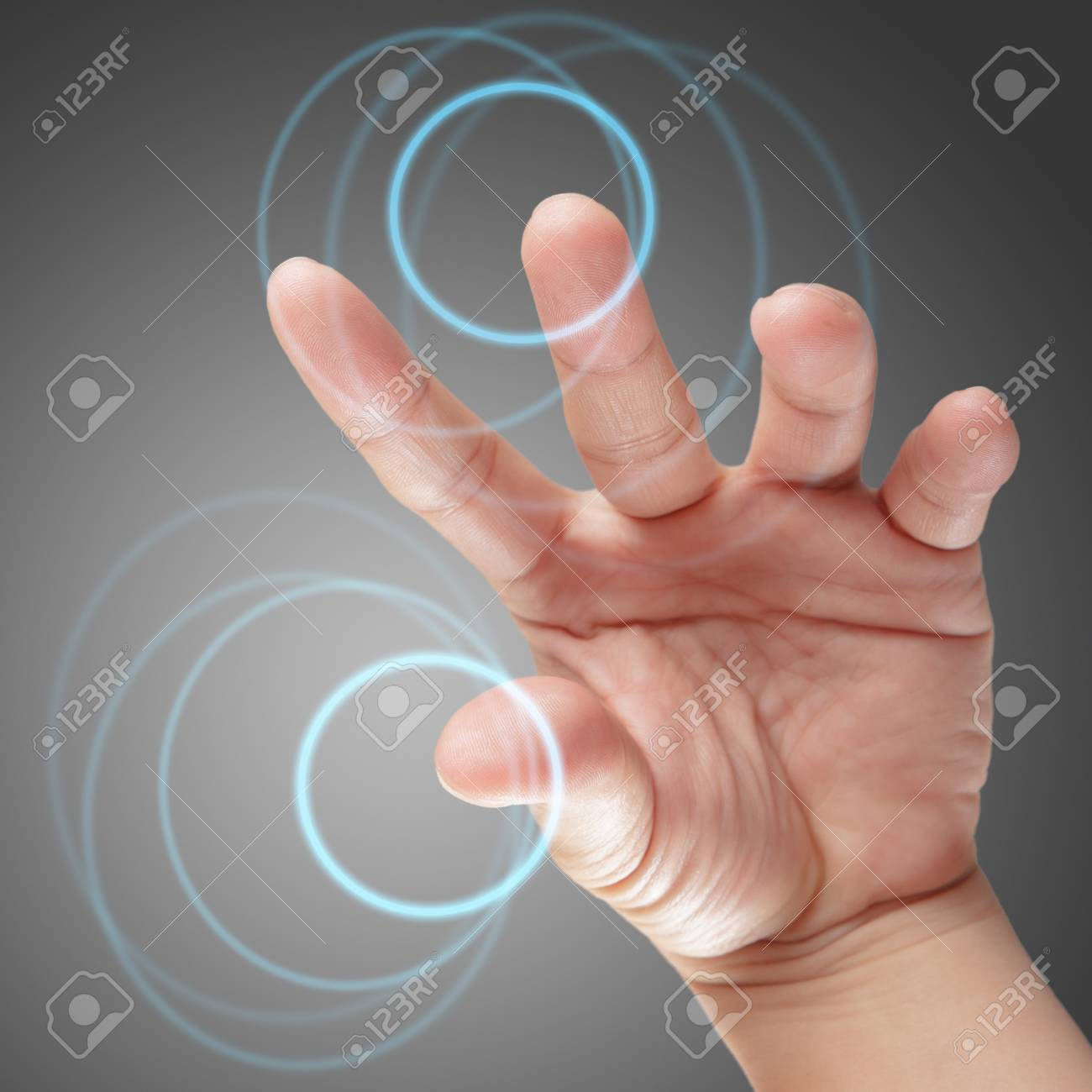 male hand working on touch screen interface as concept Stock Photo - 14731719